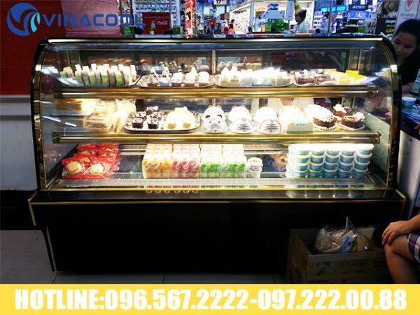 hệ thống đèn led tủ trưng bày bánh sinh nhật kính cong