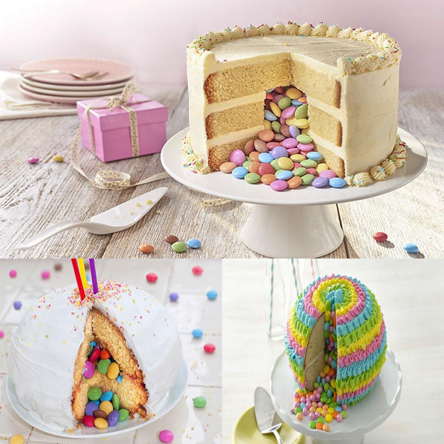 1. Bánh kem có kẹo, trái cây bên trong bánh