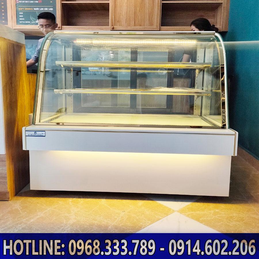 Lắp đặt tủ bánh kem 3 tầng kính cong Vinacool
