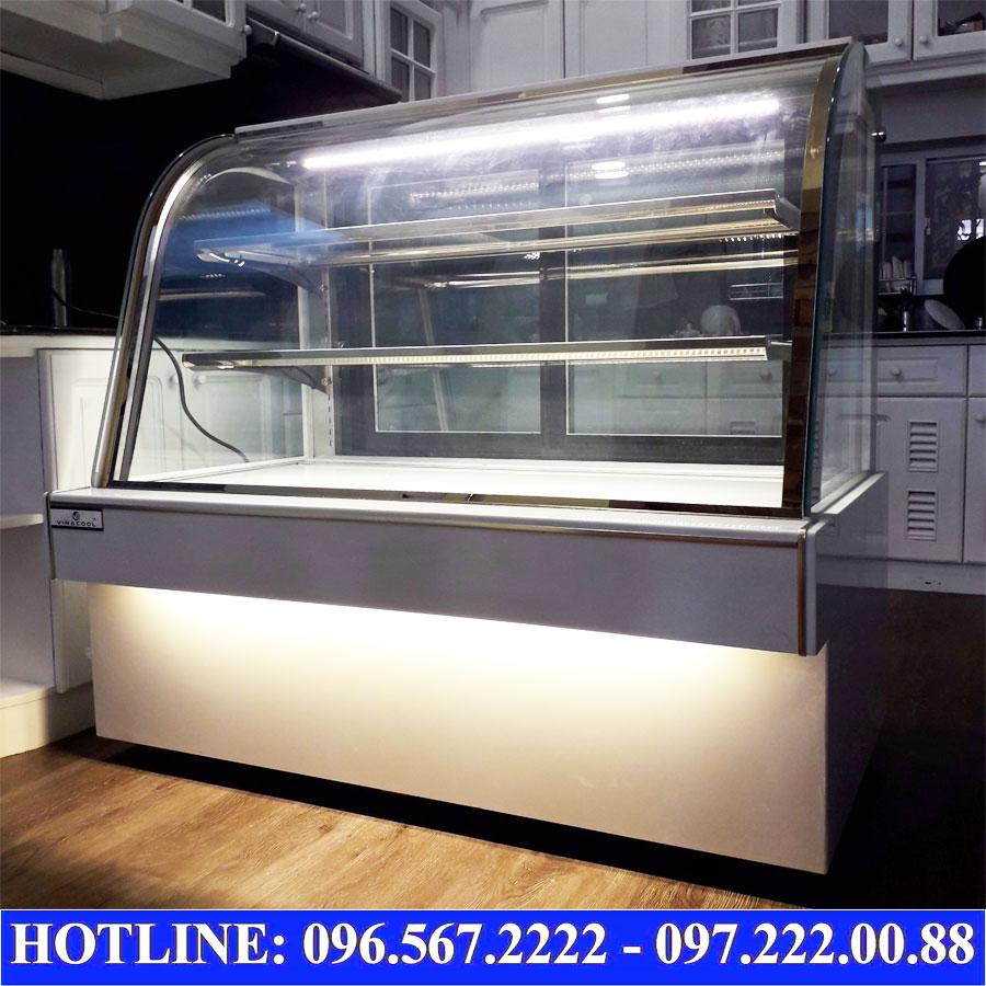 Tủ bánh kem kính cong 3 tầng màu trắng