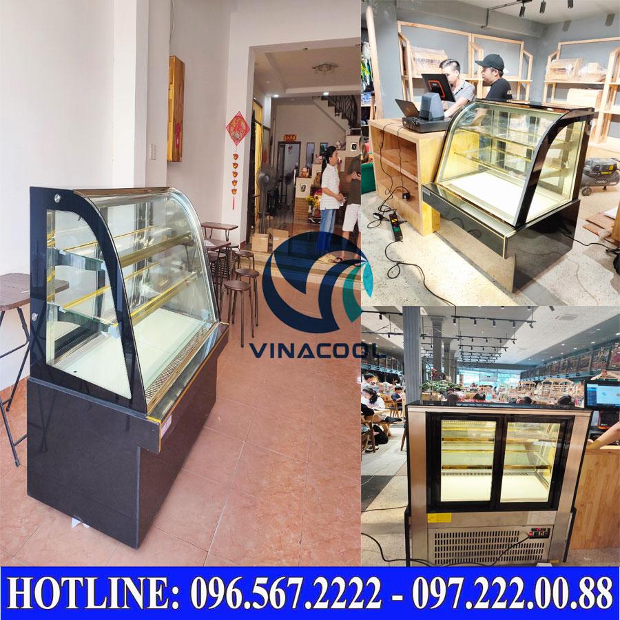 Tủ bánh kem 3 tầng kính cong đen