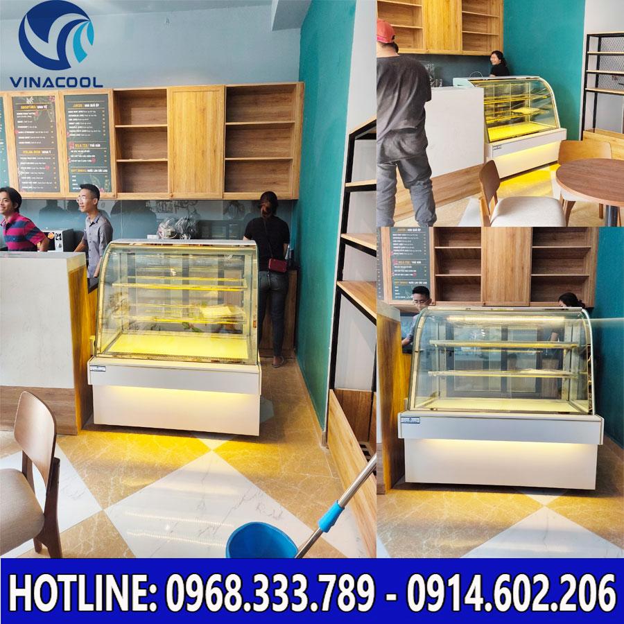 Tủ bánh kem kính cong màu trắng 3 tầng